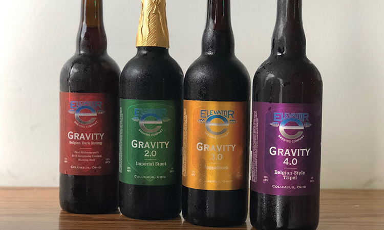 Elevator Brewing Gravity Bottles, Versions 1-4