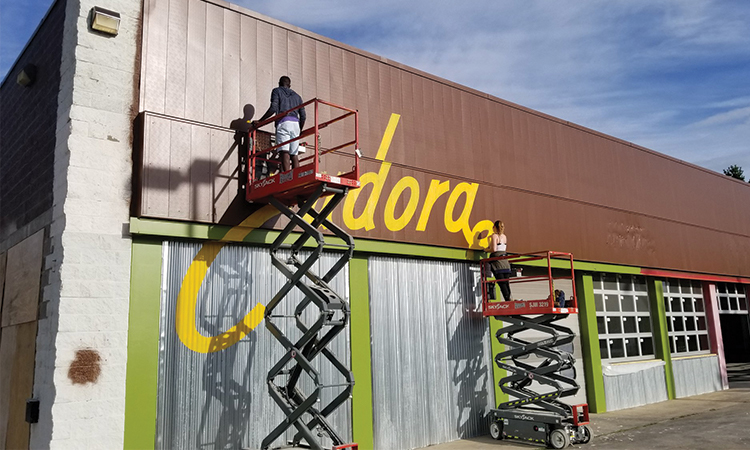 Eudora Brewing - logo painting on building facade