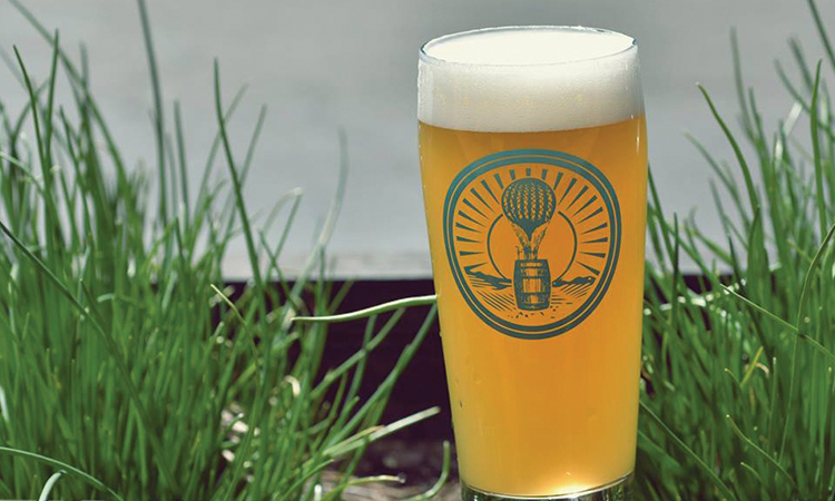 Lineage Brewing pint glass in the grass