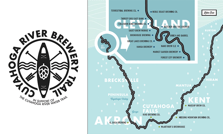 Cuyahoga River Brewery Trail map