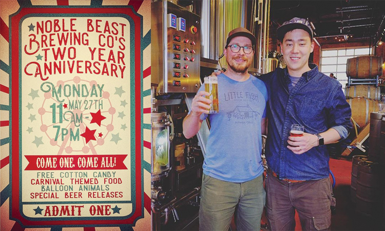 Noble Beast Brewing Co.'s Two Year Anniverdary - Monday, May 27th 11 a.m. - 7 p.m.