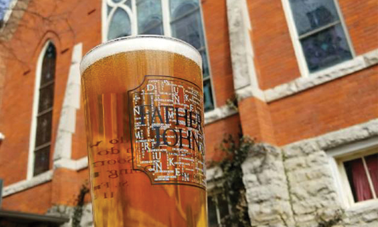 Father John's pint in the beer garden