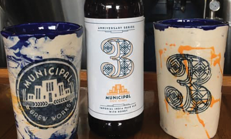 Municipal Brew Works - 3rd Anniversary double IPA and stoneware mugs